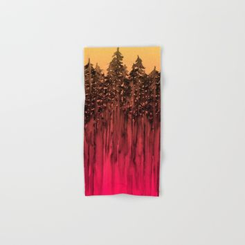 FOREST THROUGH THE TREES 12 Hot Pink Magenta Orange Black Landscape Ombre Abstract Painting Outdoors Hand & Bath Towel by EbiEmporium