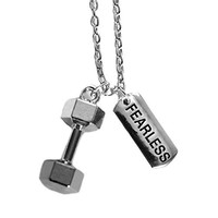 The Original Fearless Necklace By Santa Monica Charm Co. With Dumbbell Pendant