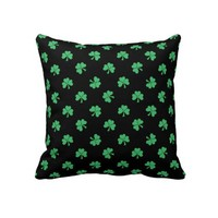 Black and Green Clover Pattern Throw Pillow from Zazzle.com