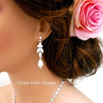 Bridal Jewelry Set PEARL Necklace and Earrings Cubic Zirconia Jewelry Mother of the Bride