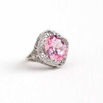 Vintage Art Deco Sterling Silver Pink Glass Stone Ring - 1930s Size 6 1/2 Flower Filigree Oval Cut Simulated Pink Sapphire Statement Jewelry