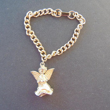 Beautiful Gold Tone MAY Angel Charm Bracelet