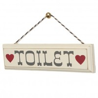 Rustic Wooden Toilet Sign