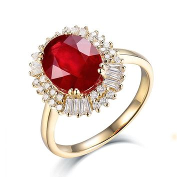 Vintage Oval 8x10mm Solid 14K Yellow Gold Natural Diamond Ruby Ring Wedding Engagement Ring, Genuine Ruby Jewelry SR002