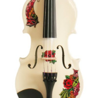 Butterfly Rose Tattoo White Glitter Violin Outfit