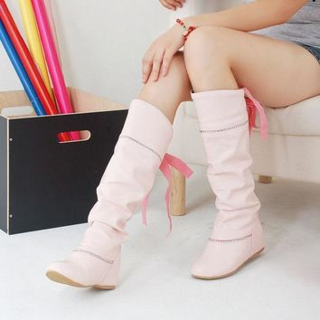 VLX2WL Hot Deal On Sale Height Increase Shoes Stylish Rhinestone Butterfly With Heel Knee-length Boots [9432962314]