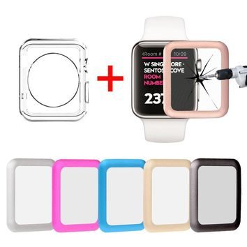 Full Cover Tempered Glass Screen Protector + TPU Case For Apple Watch 3 38/42mm