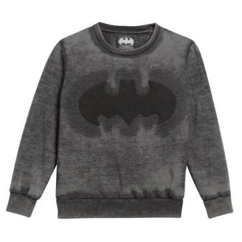 LMFMS9 Little Eleven Paris Boys Charcoal Batman Sweatshirt