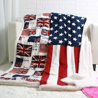 Your Country Sherpa Plush Blanket-United States & Great Britain