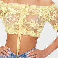 Yellow Organza Floral Bardot Crop Top