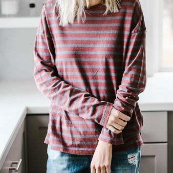 Let's Chill Out Burgundy Stripe Tee