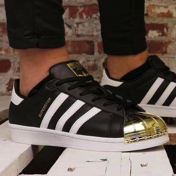 adidas Superstar Metal Toe 'black / gold' Men And Women Running Shoes BB5114