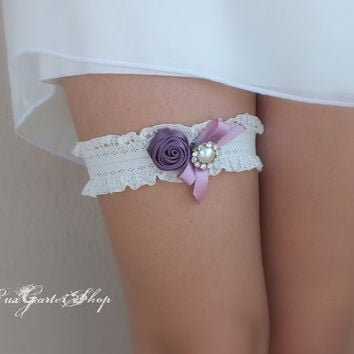 Ivory Wedding garter, purple roses and rhinestone button  bridal garter lace ivory  lace bridal garter garters free shipping