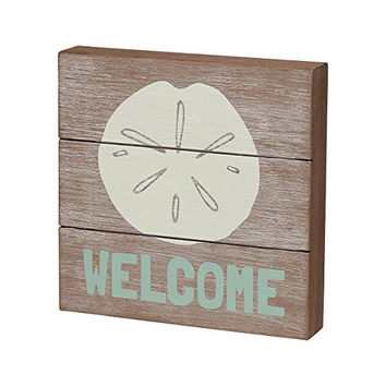 Welcome - Plankboard Box Sign with Sand Dollar 8-in