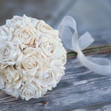 Bride Bouquet Paper Roses Vintage Shabby Chic Inspired (item F10355)