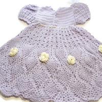 Special Birthday Sale Baby Crochet Lace Dress Newborn Preemie Reborn doll Handmade OOAK in Lilac with Yellow Flowers