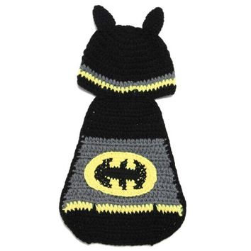 Chic Quality Hand Knitting Photography Bat Shape Baby Clothes Suits