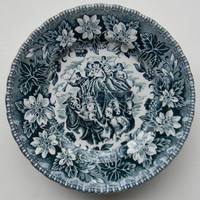 Teal Blue Transferware Plate Horses Carriage Florals Stagecoach