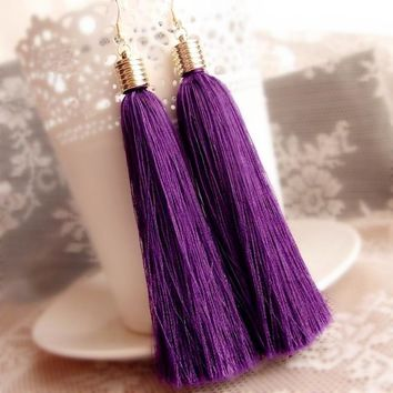 Fashion Ethnic Dangle Earring Purple vintage Tassel Drop Earrings for Women Gold Color Cotton Fringes Big Long Earring Jewelry