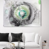 "Coastal Watercolor 1. Contemporary Abstract Green  Black Canvas Art Print up to 72"" by Irena Orlov"