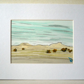 Original Watercolor Landscape ,Painting matted,watercolor art , forest painting ,tree art