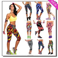 Women Plus Size Capris Casual Dance Exercise Fitness Leggings