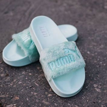 WOMEN'S THONGS SHOES SNEKAERS PUMA X RIHANNA FENTY FUR SLIDE [365772 01]