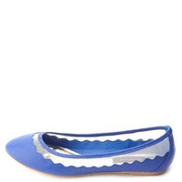 Dollhouse Mesh-Lined Scalloped Ballet Flats by Charlotte Russe - Blue