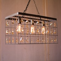 Metal Rectangle Pendant Hanging Light with Amber Glass Gems -- 24-in