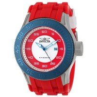 Invicta 11947 Men's Pro Diver Blue Bezel Red Rubber Strap Steel Watch