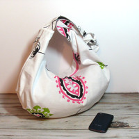 Hobo Slouch Bag - Slouchy Purse - Customize - Over the Shoulder - Cross Body Hobo Bag - Canvas Hobo Bag - Hobo Purse - Pink Hobo Bag