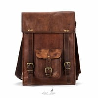 Handmade Moroccan goat Leather Backpack Satchel - Vertical