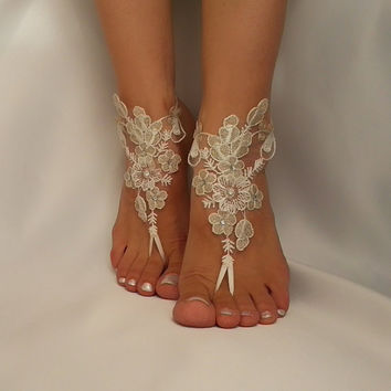 silver and ivory  flower Beach wedding barefoot sandals , Sandals, Sexy, Yoga, Anklet , Bellydance, Steampunk, Beach Pool  UNIQUE sexy