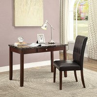 Acme 92211 2 pc Sydney walnut finish wood and black faux marble top desk and chair set