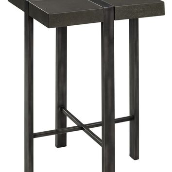 Fontana Side Table Gray Metal with Polished Concrete Top