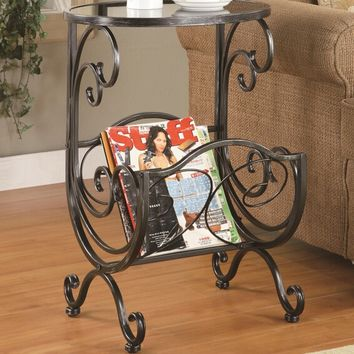 A.M.B. Furniture & Design :: Living room furniture :: Chair side tables :: Black with silver metal finish oval top chair side table with magazine rack and glass top
