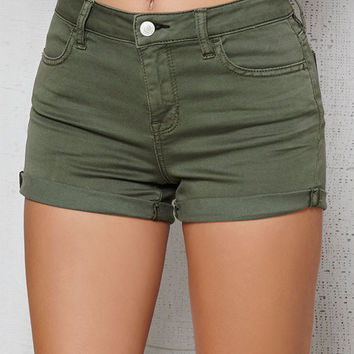 PacSun Dusty Green Super Stretch Denim Shorts at PacSun.com