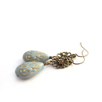 Pale Blue Earrings - Acrylic Teardrop Beads with Gold Inlay -  Light Blue Vintage Style Earrings - Retro Victorian