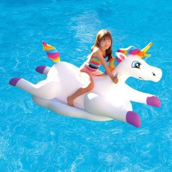 Pool Floats For Kids Unicorn Inflatable Ride On Toy Water Swimming Summer Fun