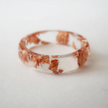 Cooper flakes resin ring, band ring, copper ring, copper foil, cocktail ring, copper jewelry, transparent ring, stacking rings, stackable