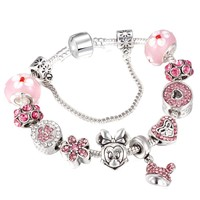 Fashion Cartoon Mickey Minnie Charm Bracelets Murano Beads Fits European Pandora Bracelets & Bangles for Women DIY Jewelry