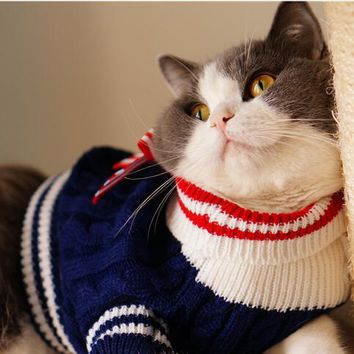 Autumn/Winter Navy Style Cat Sweater