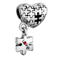 Fit Pandora charm bracelets Autism Awareness Heart Charm Bracelet Dangle Love Red Crys