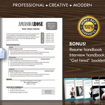 11 Resume Template / CV Template for MS Word / Professional and Modern Resume Design / Instant Digital Download / Mac or PC