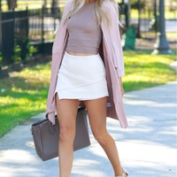 Suede Draping Cardigan Blush