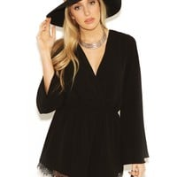 West Coast Wardrobe London Calling Long Sleeve Romper in Black