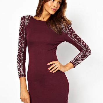 TFNC | TFNC Body-Conscious Dress With Embellished Sleeve at ASOS