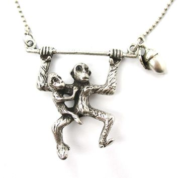 Mother and Baby Chimpanzee Monkey Swinging Shaped Animal Pendant Necklace in Silver