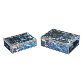 A11205 Mundi Set Of 2 Boxes Blue Geode