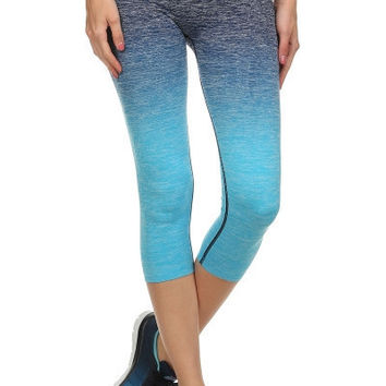 Ombre Yoga Capri Leggings - XL Grey